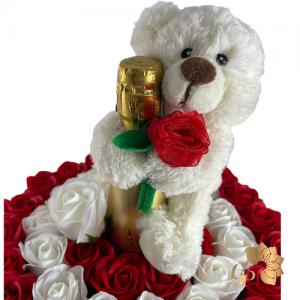 Cadeauboxmet Zeeprozen + Prosecco + Teddybeer